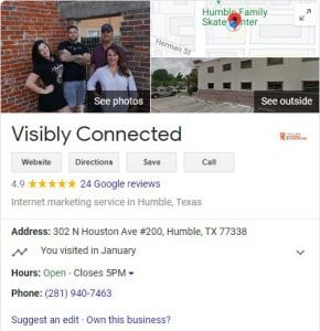 GMB Profile showing 4.9 star review rating
