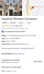 Superior Window Company Google My Business Listing